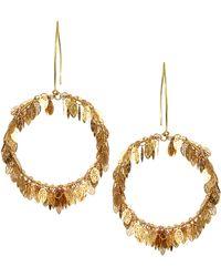 Sam Ubhi Statement Leaf Hoop Earrings - Metallic