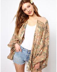 Winter Kate Aurora Kimono with Suede Lattice Details - Multicolour
