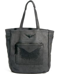 Zadig & Voltaire Large Leather Stamped Shopper - Grey