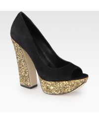 Boutique 9 | Suede Glittercoated Platform Pumps | Lyst