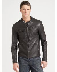 Cole Haan Washed Leather Motorcycle Jacket - Lyst