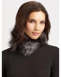 Josie Natori - Silver Fox Fur Cuff Scarf - Lyst