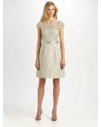 Kay Unger Moireacute Metallic Lace Dress - Lyst