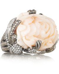 Lydia Courteille - Monkey 18karat White Gold Coral and Diamond Ring - Lyst