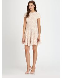 Torn Cristal Lace Fitflare Dress - Natural
