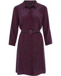 Marc By Marc Jacobs Navy and Red Polka Dot Silk Shirt Dress - Blue