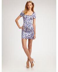 D&G Violetprint Stretch Silk Mini Dress - Lyst
