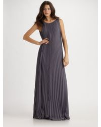 Halston Heritage Pleated Long Dress - Lyst
