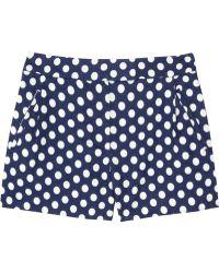 J.Crew Nofolk Polkadot Linen and Cotton blend Shorts - Blue
