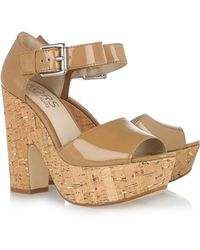 Kors by Michael Kors Korey Patent-lLeather And Cork Sandals - Brown
