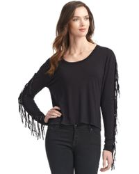 Torn Gweneth Fringe Top - Black