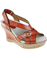 Earthies® Salerno Leather Slingback Wedge Sandals with Buckle Accent - Lyst