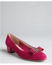 Ferragamo Fuchsia Suede Vara Low Block Heel Pumps - Lyst