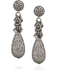 Irit Design Oxidized Sterling Silver Diamond Earrings - Metallic