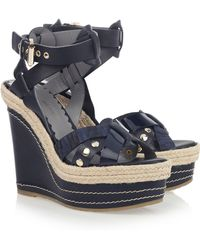Mulberry Leather Wedge Sandals - Blue