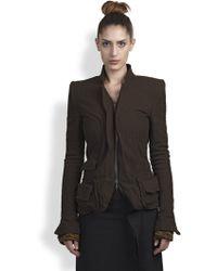 Haider Ackermann Distressed Wool Cotton Linen Jacket - Lyst