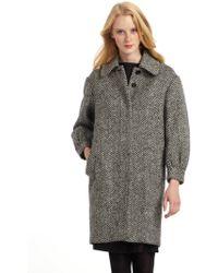 Moschino Herringbone Tweed Wool Coat - Lyst