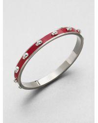 Alexander McQueen 3D Enamel Skull Small Bangle Bracelet/Silvertone - Lyst
