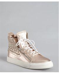 Giuseppe Zanotti Rosegold Metallic Leather Studded Zip Hightop Sneakers - Lyst