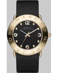 Marc By Marc Jacobs Amy Goldtone Stainless Steel & Leather Strap Watch - Lyst