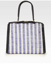 Marni Woven Leather Raffia Shoulder Bag - Blue