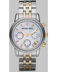 Michael Kors Two-Tone Stainless Steel Chronograph Watch silver - Lyst