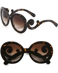 Prada Oversized Baroque Round Sunglasses brown - Lyst