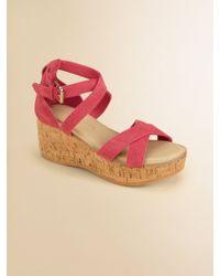 Ralph Lauren | Girls Fiona Suede Wedge Sandals | Lyst