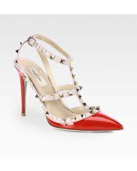 Valentino Patent Leather Rockstud Slingback Pumps - Lyst