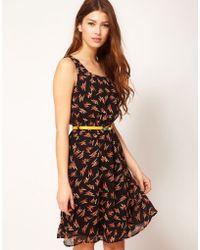 Max C Midi Dress in Lightening Print - Black