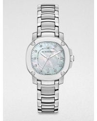Burberry Stainless Steel and Diamond Bracelet Watch - Lyst