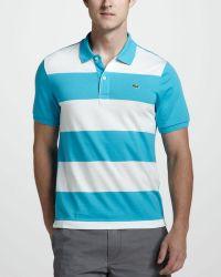 Lacoste Stripe Front Jersey Polo - Lyst