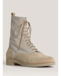 MM6 by Maison Martin Margiela Suede-panel Lace-up Flat Boots - Natural