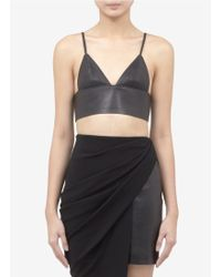 T By Alexander Wang Leather Triangle Tank Top - Lyst