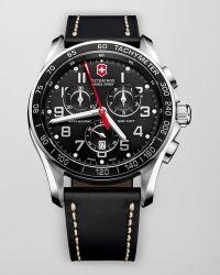Victorinox Victorinox Swiss Army 'chrono Classic Xls' Leather Strap Watch - Black