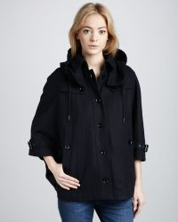 Burberry Brit - Hooded Wool Cape - Lyst