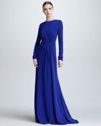 Elie Saab Long Sleeve Gathered Jersey Gown - Lyst