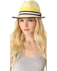 Juicy Couture Ombre Straw Fedora - Yellow
