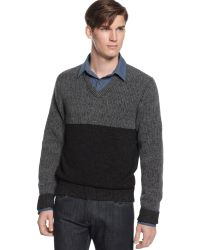 Kenneth Cole Color Block V Neck Sweater - Gray