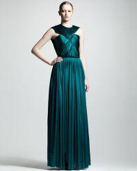 Lanvin Ruched Silk Gown green - Lyst