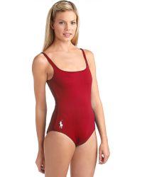 Ralph Lauren Blue Label Martinique Onepiece Swimsuit - Red
