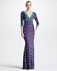 Roberto Cavalli Threequartersleeve Snakeprint Gown purple - Lyst