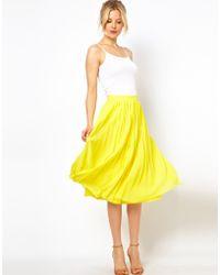 Asos Midi Skirt with Pleats yellow - Lyst
