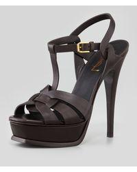 Saint Laurent Tribute Highheel Leather Sandal Chocolate - Lyst