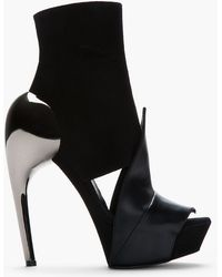 Gareth Pugh - Black Suede and Leather Accent Heel Boots - Lyst
