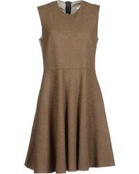 Hache Sleeveless Crew Neckline Brown Short Dress - Lyst