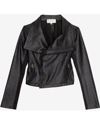 Georgie Exclusive Perforated Faux Leather Moto Jacket - Black