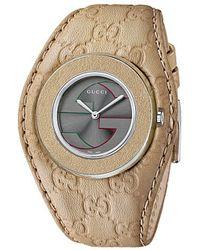 Gucci U-Play 35Mm Signature Logo Leather Strap Watch-Ya129426 - Lyst
