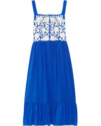 Leaves Of Grass - Corby Embroidered Silk-georgette Dress - Lyst