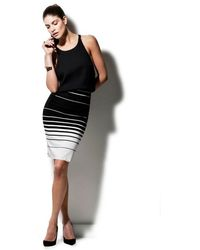 Nadia Tarr Exclusive Striped Jersey Pencil Skirt - White